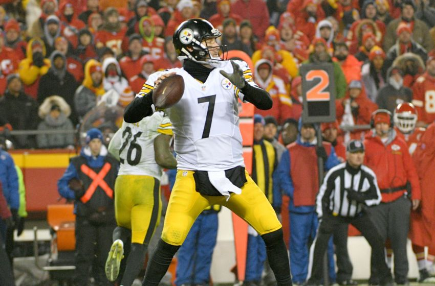 Jan 15, 2017; Kansas City, MO, USA; Pittsburgh Steelers quarterback Ben Roethlisberger (7) throws a pass in the AFC Divisional playoff game against the Kansas City Chiefs at Arrowhead Stadium. Pittsburgh won 18-16. Mandatory Credit: Denny Medley-USA TODAY Sports