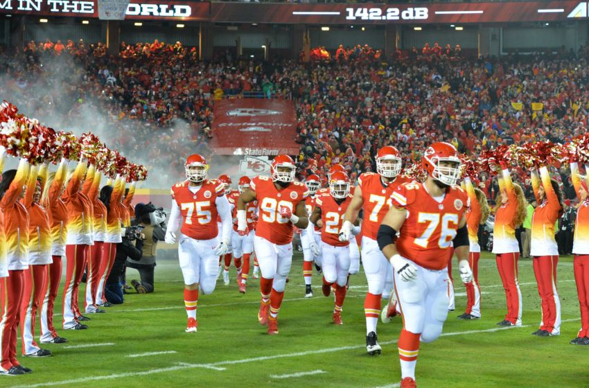 Jan 15, 2017; Kansas City, MO, USA; Kansas City Chiefs players run onto the field prior to the AFC Divisional playoff game against the Pittsburgh Steelers at Arrowhead Stadium. Mandatory Credit: Denny Medley-USA TODAY Sports