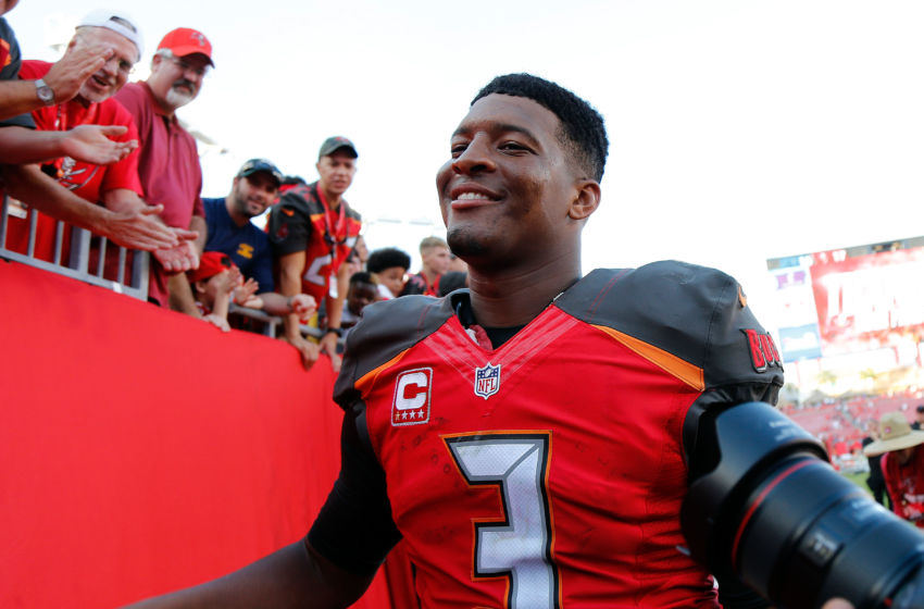 Jan 1, 2017; Tampa, FL, USA; Tampa Bay Buccaneers quarterback Jameis Winston (3) smiles after they beat the Carolina Panthers at Raymond James Stadium. Tampa Bay Buccaneers defeated the Carolina Panthers 17-16. Mandatory Credit: Kim Klement-USA TODAY Sports