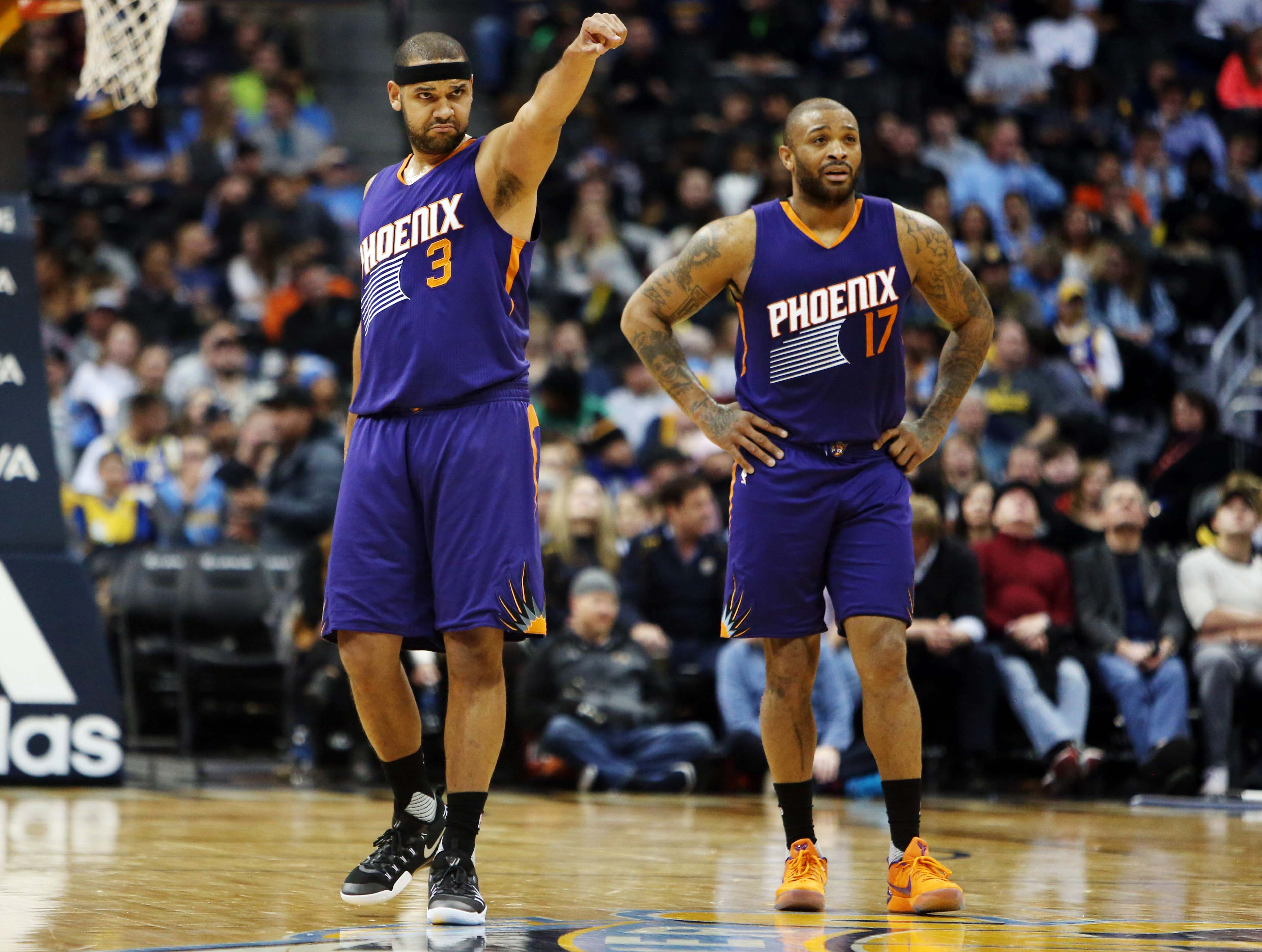 Jan 26, 2017; Denver, CO, USA; Phoenix Suns forward Jared Dudley (3) and Phoenix Suns forward P.J. Tucker (17) during the first half against the Denver Nuggets at Pepsi Center. Mandatory Credit: Chris Humphreys-USA TODAY Sports
