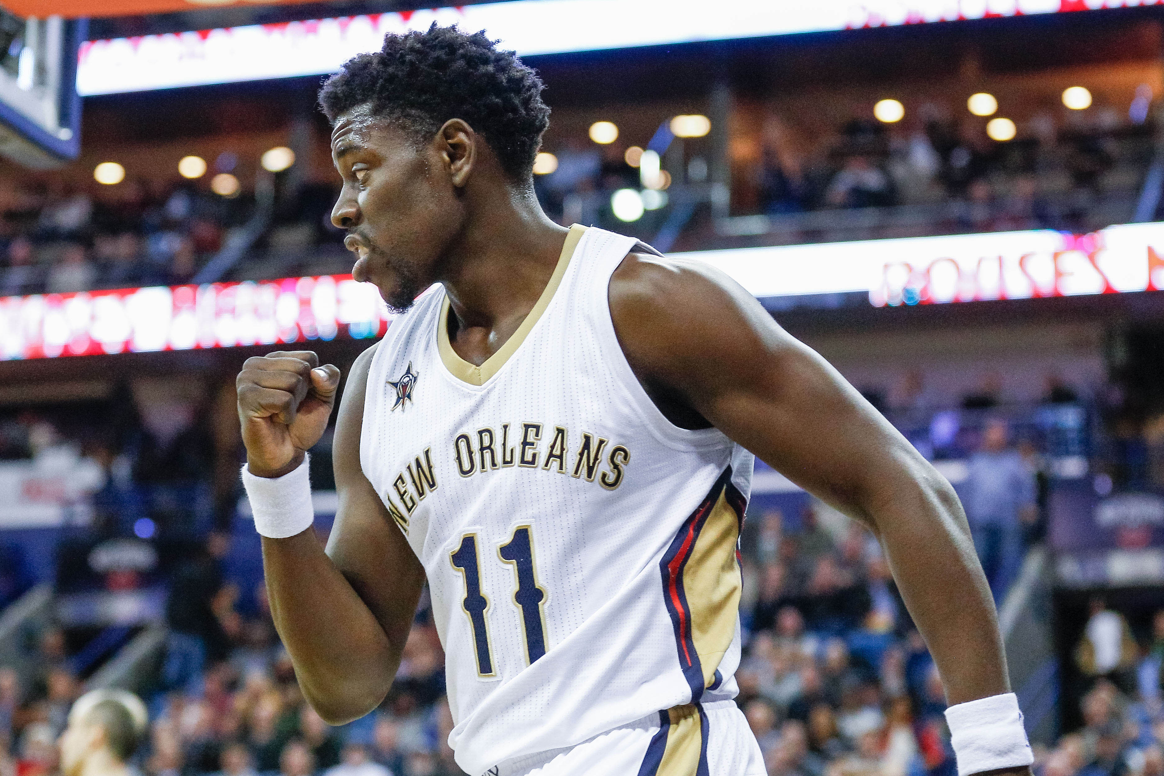 Jan 27, 2017; New Orleans, LA, USA; New Orleans Pelicans guard Jrue Holiday (11) reacts after scoring against the San Antonio Spurs during the first quarter of a game at the Smoothie King Center. Mandatory Credit: Derick E. Hingle-USA TODAY Sports