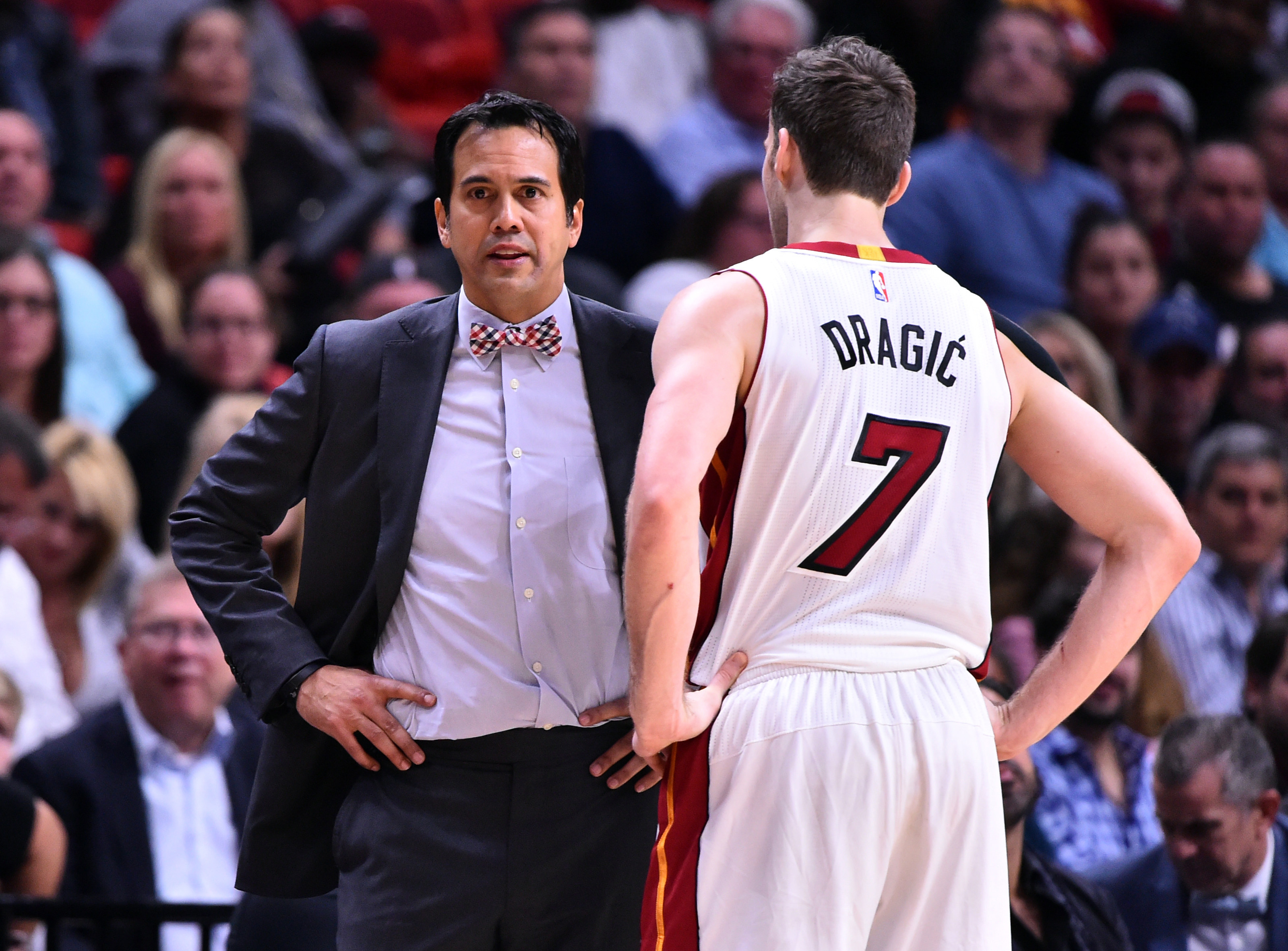 Jan 28, 2017; Miami, FL, USA; Miami Heat head coach Erik Spoelstra talks with guard Goran Dragic (7) during the second half against the Detroit Pistons at American Airlines Arena. The Heat won 116-103. Mandatory Credit: Steve Mitchell-USA TODAY Sports