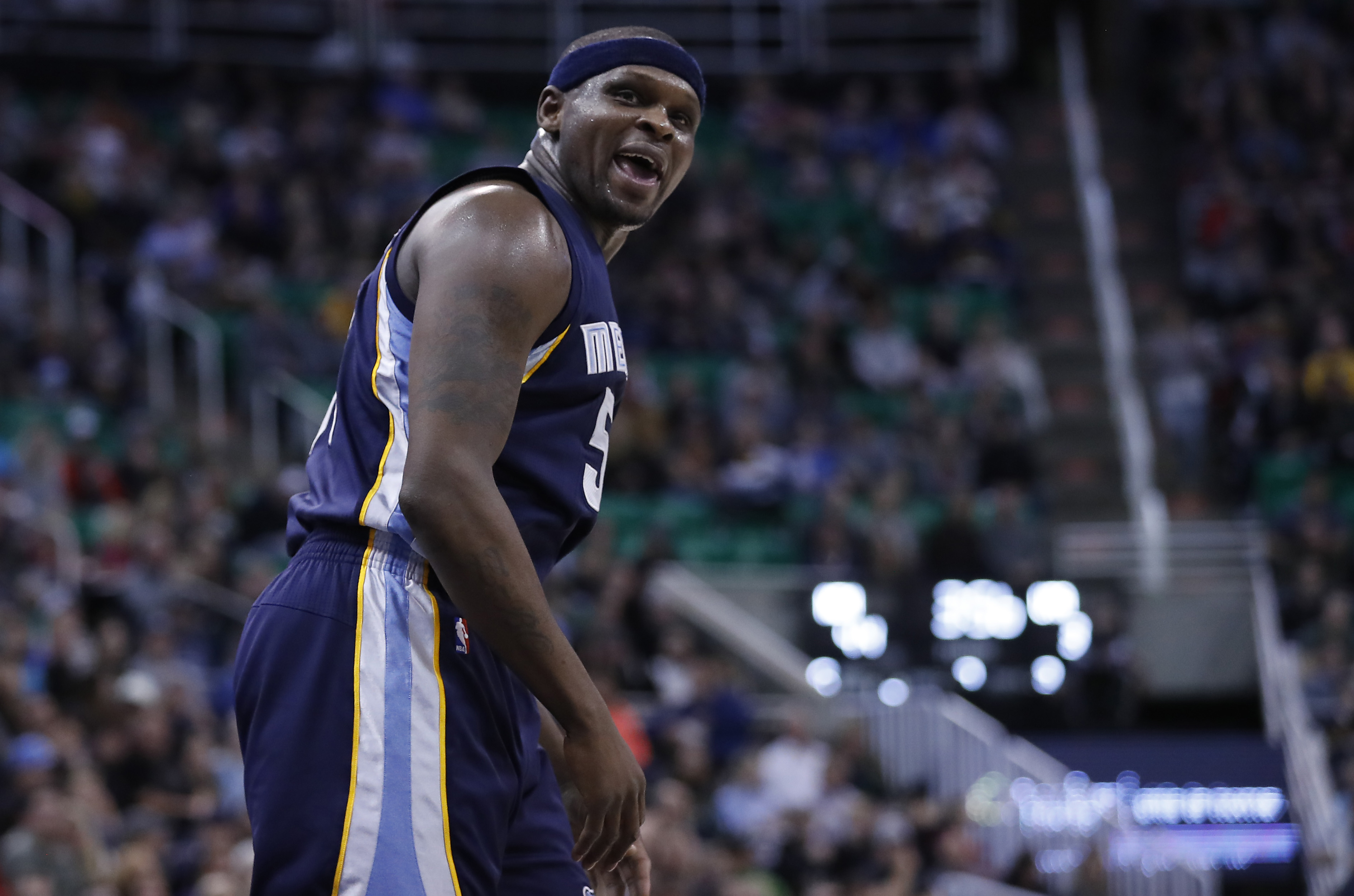 Jan 28, 2017; Salt Lake City, UT, USA; Memphis Grizzlies forward Zach Randolph (50) reacts to a call in the second quarter against the Utah Jazz at Vivint Smart Home Arena. Mandatory Credit: Jeff Swinger-USA TODAY Sports