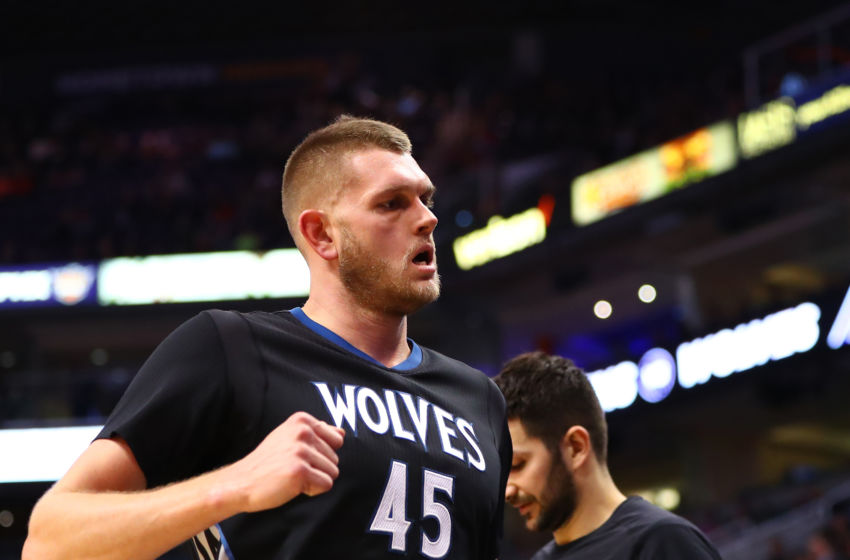 Jan 24, 2017; Phoenix, AZ, USA; Minnesota Timberwolves center Cole Aldrich (45) against the Phoenix Suns at Talking Stick Resort Arena. The Timberwolves defeated the Suns 112-111. Mandatory Credit: Mark J. Rebilas-USA TODAY Sports