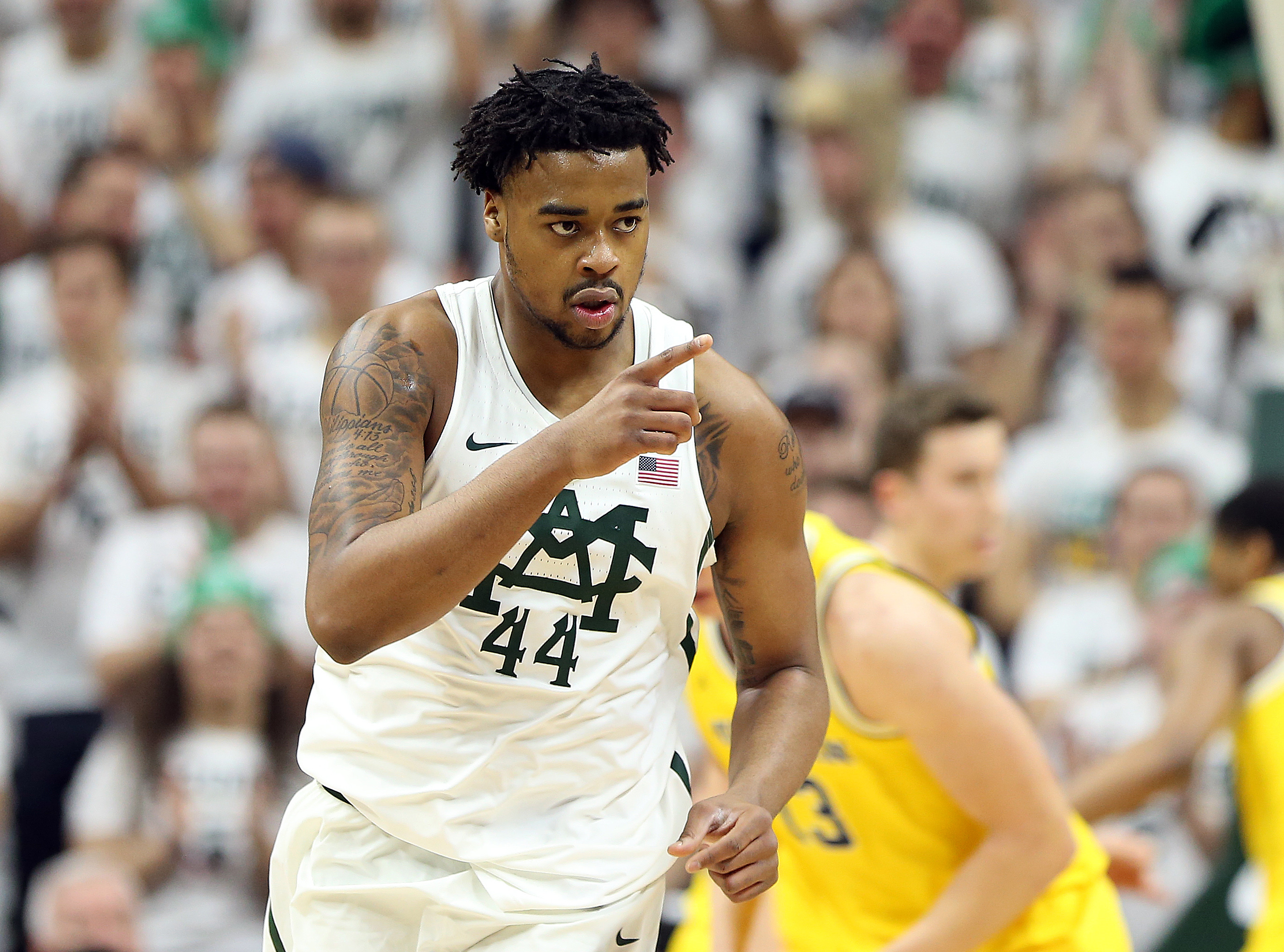 Jan 29, 2017; East Lansing, MI, USA; Michigan State Spartans forward Nick Ward (44) reacts to a play during the first half of a game against the Michigan Wolverines at the Jack Breslin Student Events Center. Mandatory Credit: Mike Carter-USA TODAY Sports