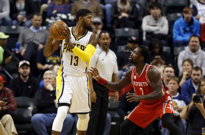 Jan 29, 2017; Indianapolis, IN, USA; Indiana Pacers forward Paul George (13) is guarded by Houston Rockets guard Patrick Beverley (2) at Bankers Life Fieldhouse. Mandatory Credit: Brian Spurlock-USA TODAY Sports