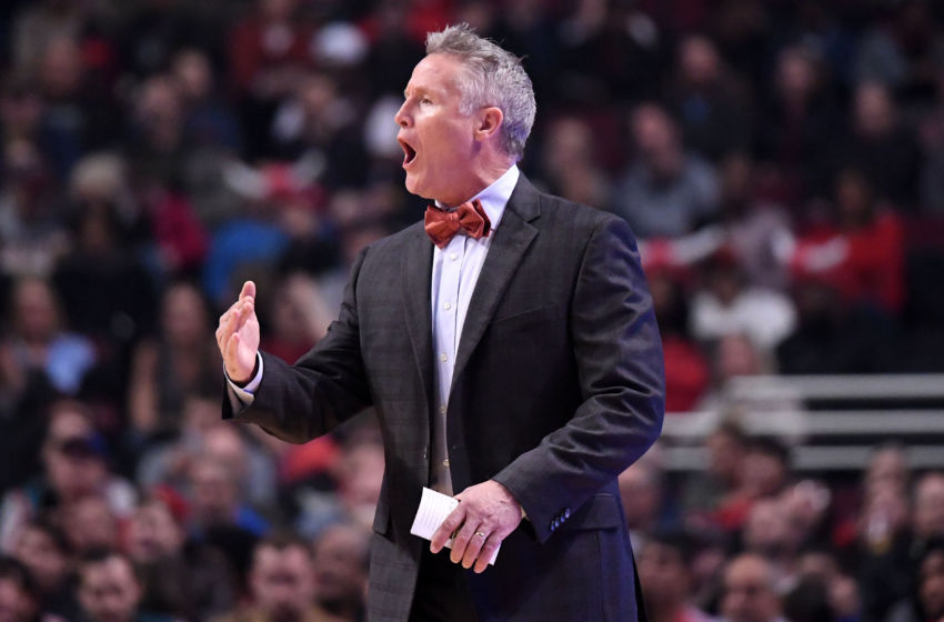 Jan 29, 2017; Chicago, IL, USA; Philadelphia 76ers head coach Brett Brown reacts during the first half against the Chicago Bulls at the United Center. Mandatory Credit: Mike DiNovo-USA TODAY Sports