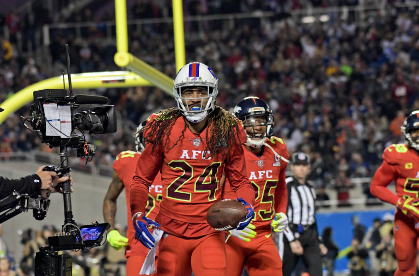 Jan 29, 2017; Orlando, FL, USA; AFC (red) cornerback Stephon Gilmore (24) reacts after incepting a pass against the NFC during the first half of the 2017 Pro Bowl at Camping World Stadium. Mandatory Credit: Kirby Lee-USA TODAY Sports