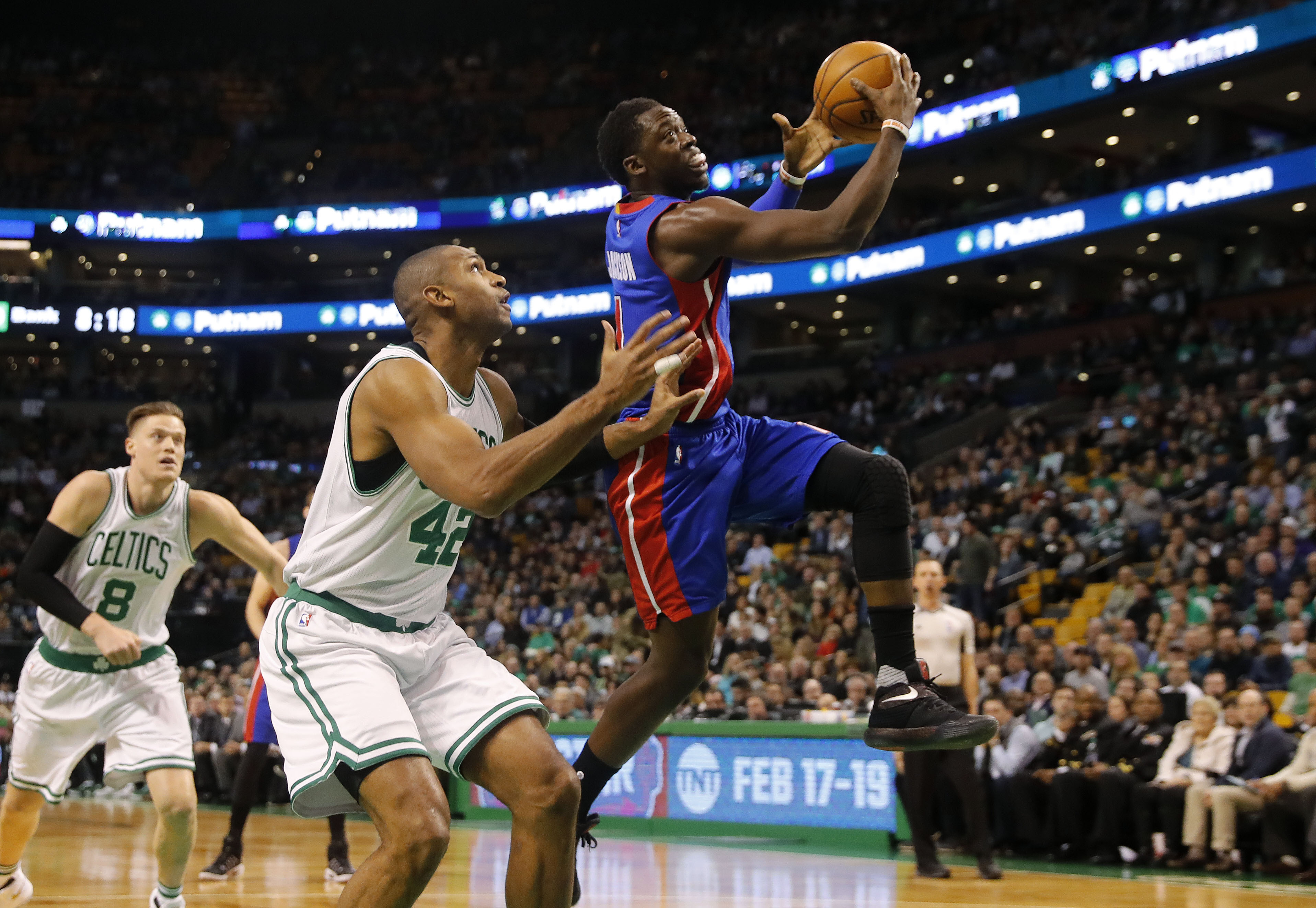Jan 30, 2017; Boston, MA, USA; Detroit Pistons guard Reggie Jackson (1) drives past Boston Celtics center Al Horford (42) during the first half at TD Garden. Mandatory Credit: Winslow Townson-USA TODAY Sports