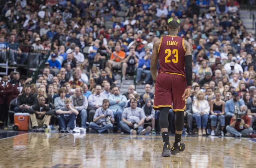 Jan 30, 2017; Dallas, TX, USA; Cleveland Cavaliers forward LeBron James (23) walks back up the court during the second half against the Dallas Mavericks at the American Airlines Center. The Mavericks defeat the Cavaliers 104-97. Mandatory Credit: Jerome Miron-USA TODAY Sports