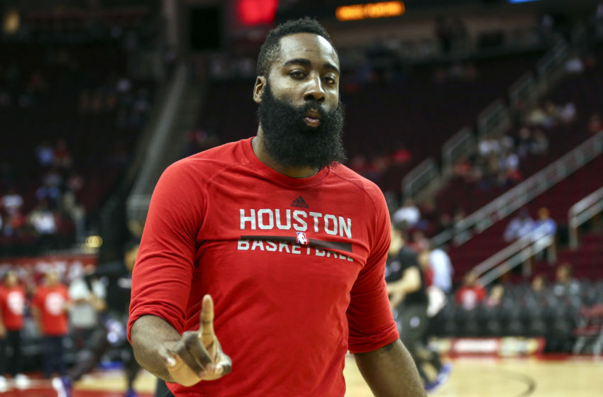 Jan 31, 2017; Houston, TX, USA; Houston Rockets guard James Harden (13) warms up before a game against the Sacramento Kings at Toyota Center. Mandatory Credit: Troy Taormina-USA TODAY Sports
