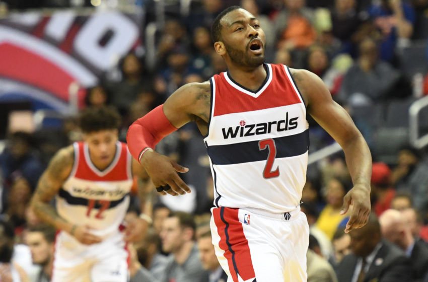 Jan 31, 2017; Washington, DC, USA; Washington Wizards guard John Wall (2) reacts after making a basket during the second quarter against the New York Knicks at Verizon Center. Mandatory Credit: Tommy Gilligan-USA TODAY Sports