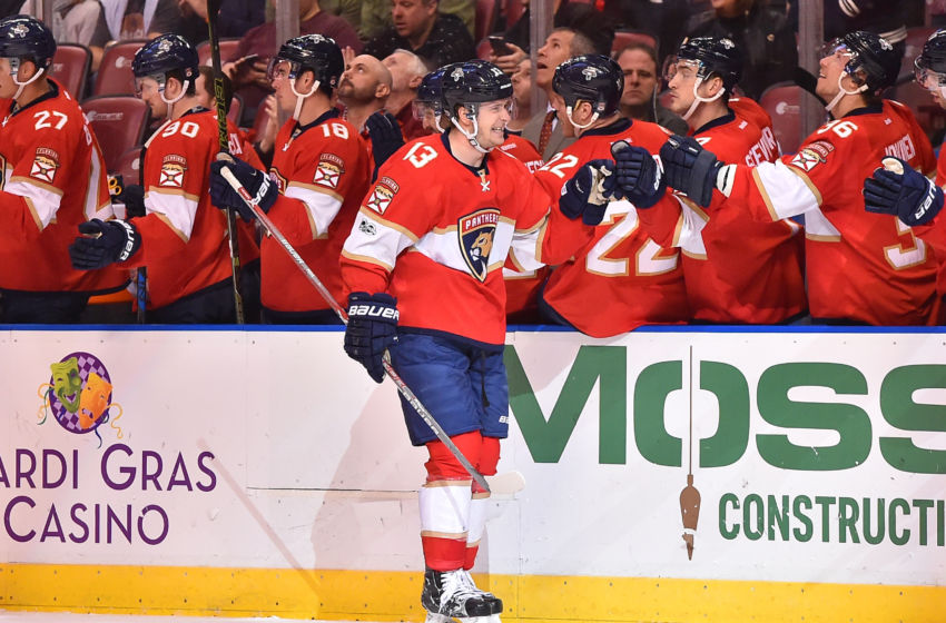 Vegas Golden Knights: Florida Panthers defenseman Mark Pysyk (13) celebrates his goal against the Ottawa Senators with teammates during the first period at BB&T Center. Mandatory Credit: Jasen Vinlove-USA TODAY Sports
