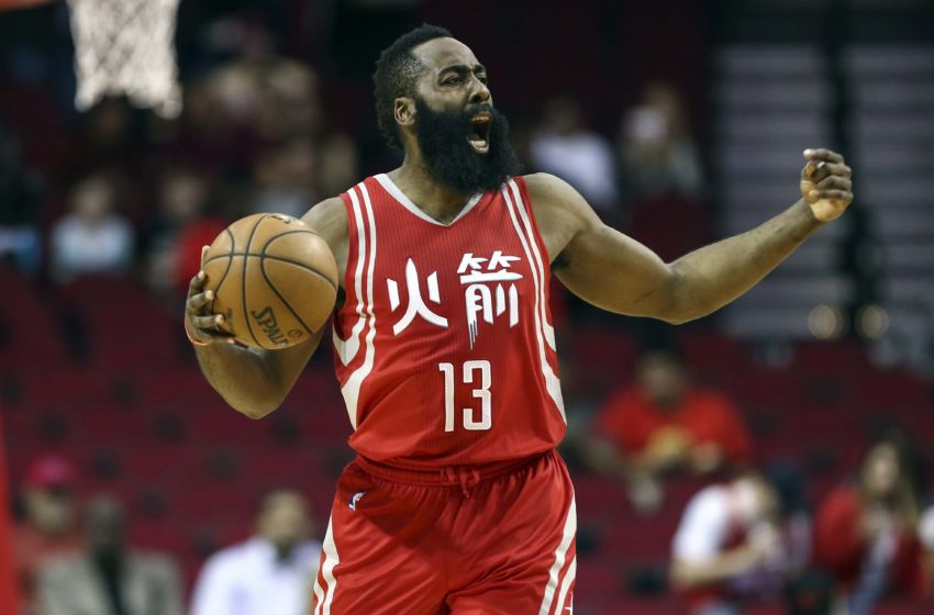 Jan 31, 2017; Houston, TX, USA; Houston Rockets guard James Harden (13) brings the ball up the court during the first quarter against the Sacramento Kings at Toyota Center. Mandatory Credit: Troy Taormina-USA TODAY Sports