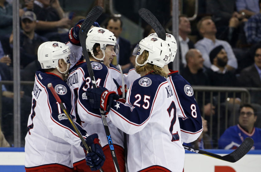 Vegas Golden Knights: Columbus Blue Jackets defenseman Seth Jones (3) is congratulated by teammates after scoring a goal during the first period against the New York Rangers at Madison Square Garden. Mandatory Credit: Adam Hunger-USA TODAY Sports