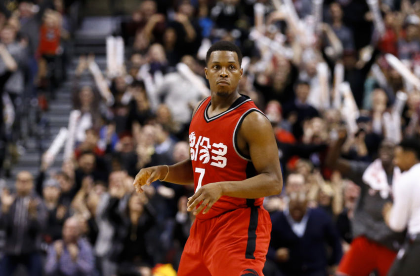Jan 31, 2017; Toronto, Ontario, CAN; Toronto Raptors guard Kyle Lowry (7) celebrates after scoring a basket against the New Orleans Pelicans during overtime at Air Canada Centre. The Raptors won 108-106 in overtime. Mandatory Credit: Kevin Sousa-USA TODAY Sports
