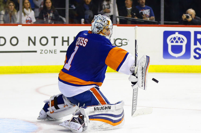 Vegas Golden Knights: New York Islanders goaltender Thomas Greiss (1) makes a blocker save against the Washington Capitals during the third period at Barclays Center. The Islanders won 3-2. Mandatory Credit: Andy Marlin-USA TODAY Sports