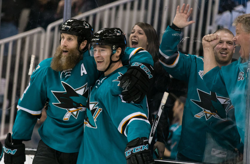 Vegas Golden Knights: San Jose Sharks left wing Patrick Marleau (12) celebrates with center Joe Thornton (19) after scoring a goal against the Chicago Blackhawks in the second period at SAP Center at San Jose. Mandatory Credit: John Hefti-USA TODAY Sports