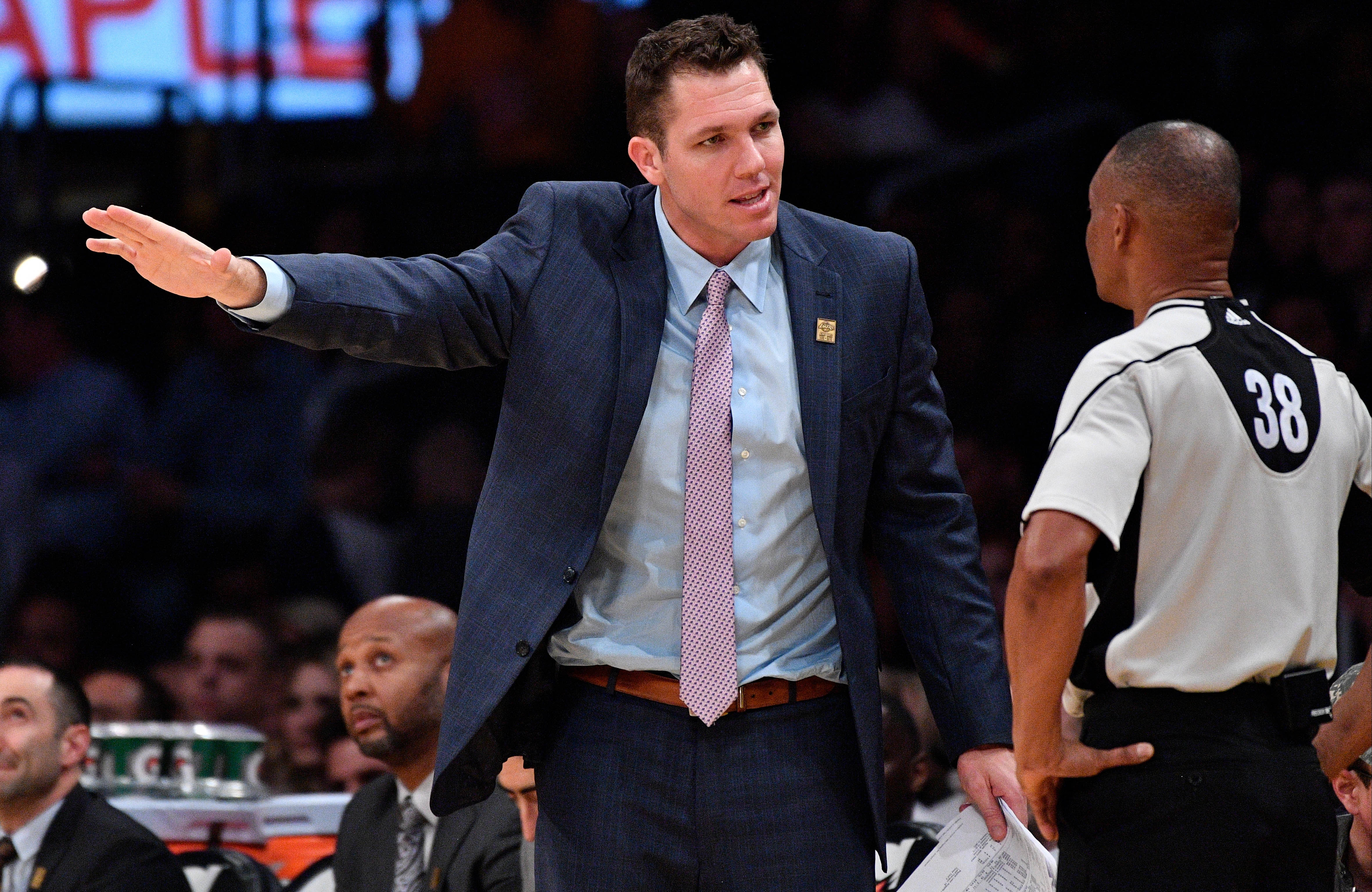 Jan 31, 2017; Los Angeles, CA, USA; Los Angeles Lakers head coach Luke Walton argues a foul call during the second half against the Denver Nuggets at Staples Center. Mandatory Credit: Robert Hanashiro-USA TODAY Sports
