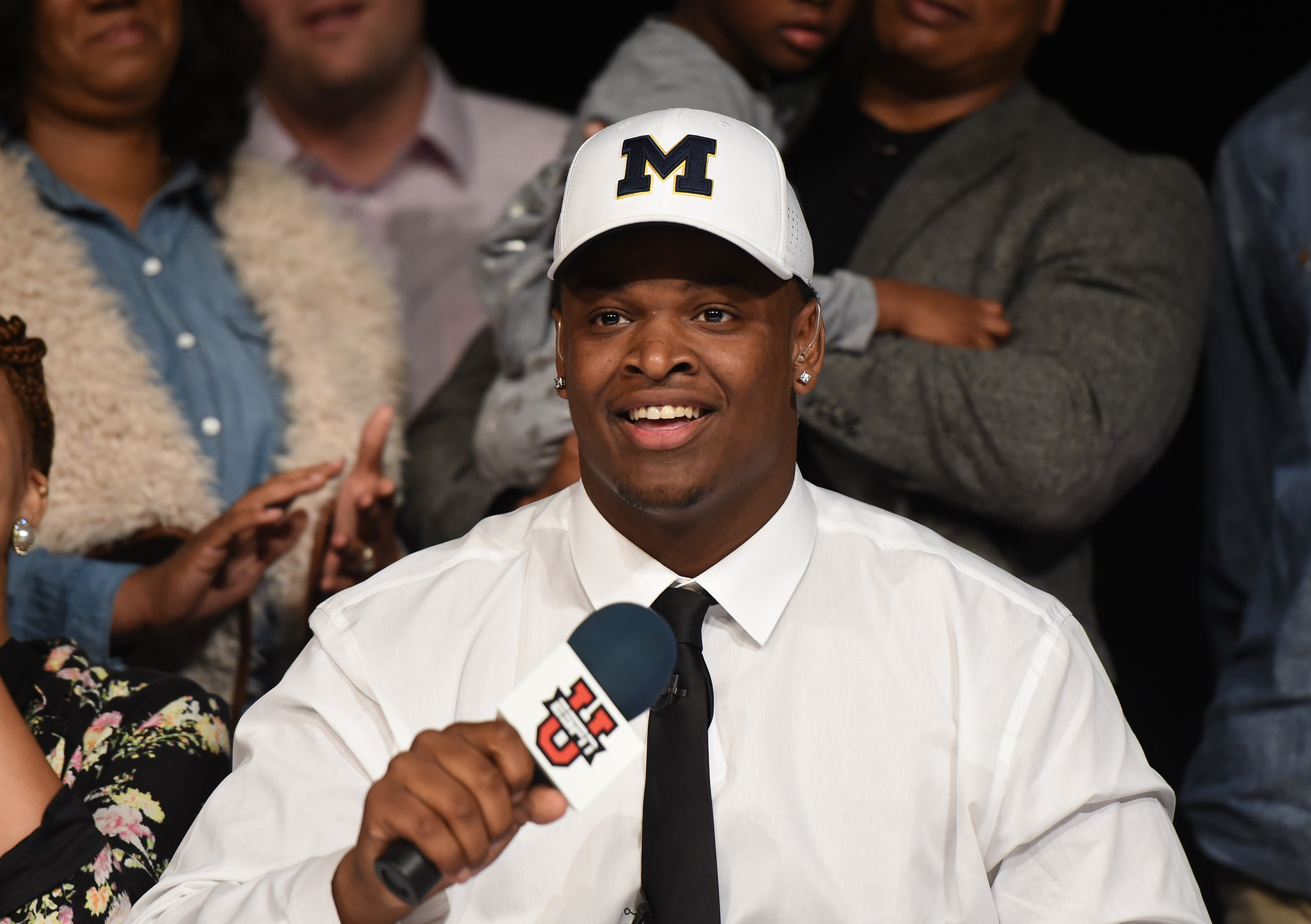 Feb 1, 2017; Leesburg, GA, USA; Lee County High School defensive tackle Aubrey Solomon commits to the Michigan Wolverines during National Signing Day. Mandatory Credit: Adam Hagy-USA TODAY Sports
