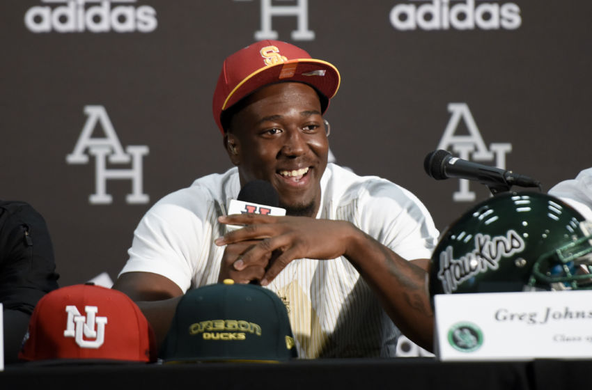 Feb 1, 2017; Los Angeles, CA, USA; Greg Johnson announces that he will sign with USC at Augustus Hawkins High School. Mandatory Credit: Kelvin Kuo-USA TODAY Sports
