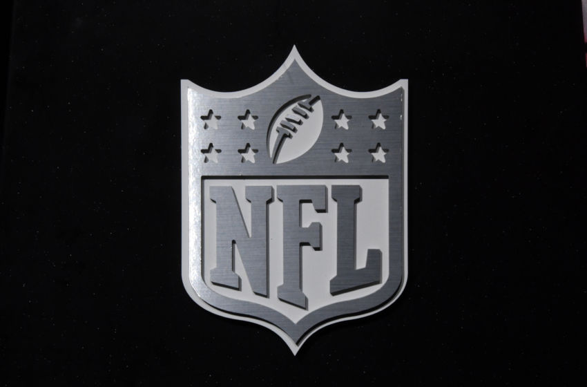 Feb 1, 2017; Houston, TX, USA; A general overall view of NFL shield logo at the NFL Experience at the George R. Brown Convention Center. Mandatory Credit: Kirby Lee-USA TODAY Sports