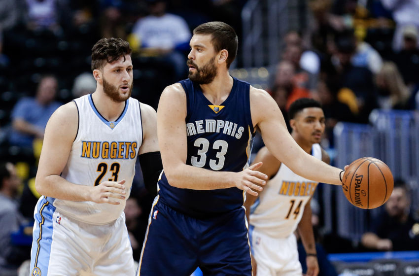 Feb 1, 2017; Denver, CO, USA; Denver Nuggets center Jusuf Nurkic (23) guards Memphis Grizzlies center Marc Gasol (33) in the first quarter at the Pepsi Center. Mandatory Credit: Isaiah J. Downing-USA TODAY Sports