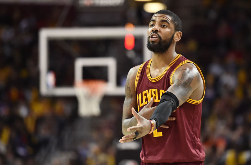 Feb 1, 2017; Cleveland, OH, USA; Cleveland Cavaliers guard Kyrie Irving (2) gives instructions to the team during the second half against the Minnesota Timberwolves at Quicken Loans Arena. The Cavs won 125-97. Mandatory Credit: Ken Blaze-USA TODAY Sports