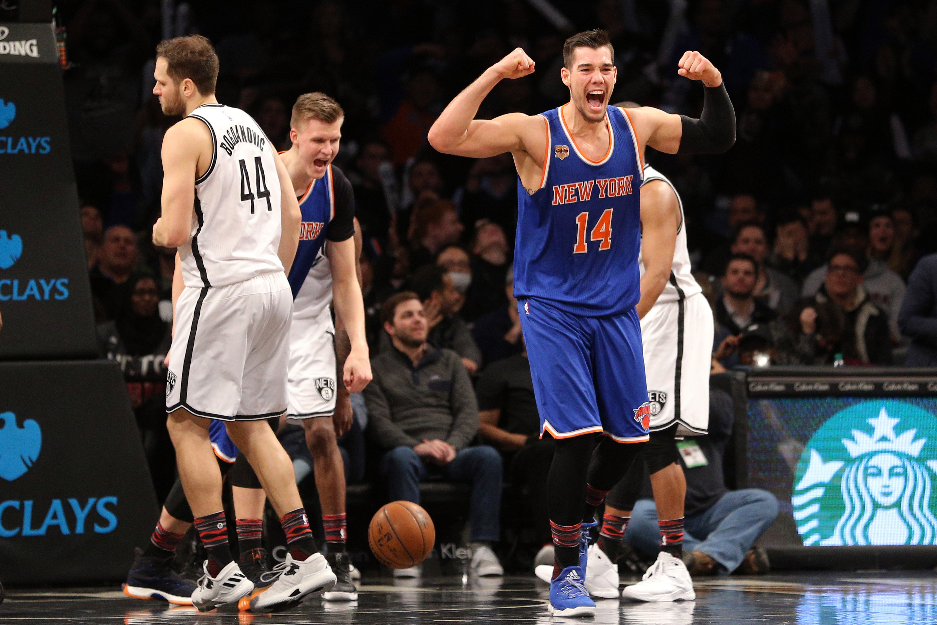 Feb 1, 2017; Brooklyn, NY, USA; New York Knicks center Willy Hernangomez (14) reacts during the fourth quarter against the Brooklyn Nets at Barclays Center. Mandatory Credit: Brad Penner-USA TODAY Sports