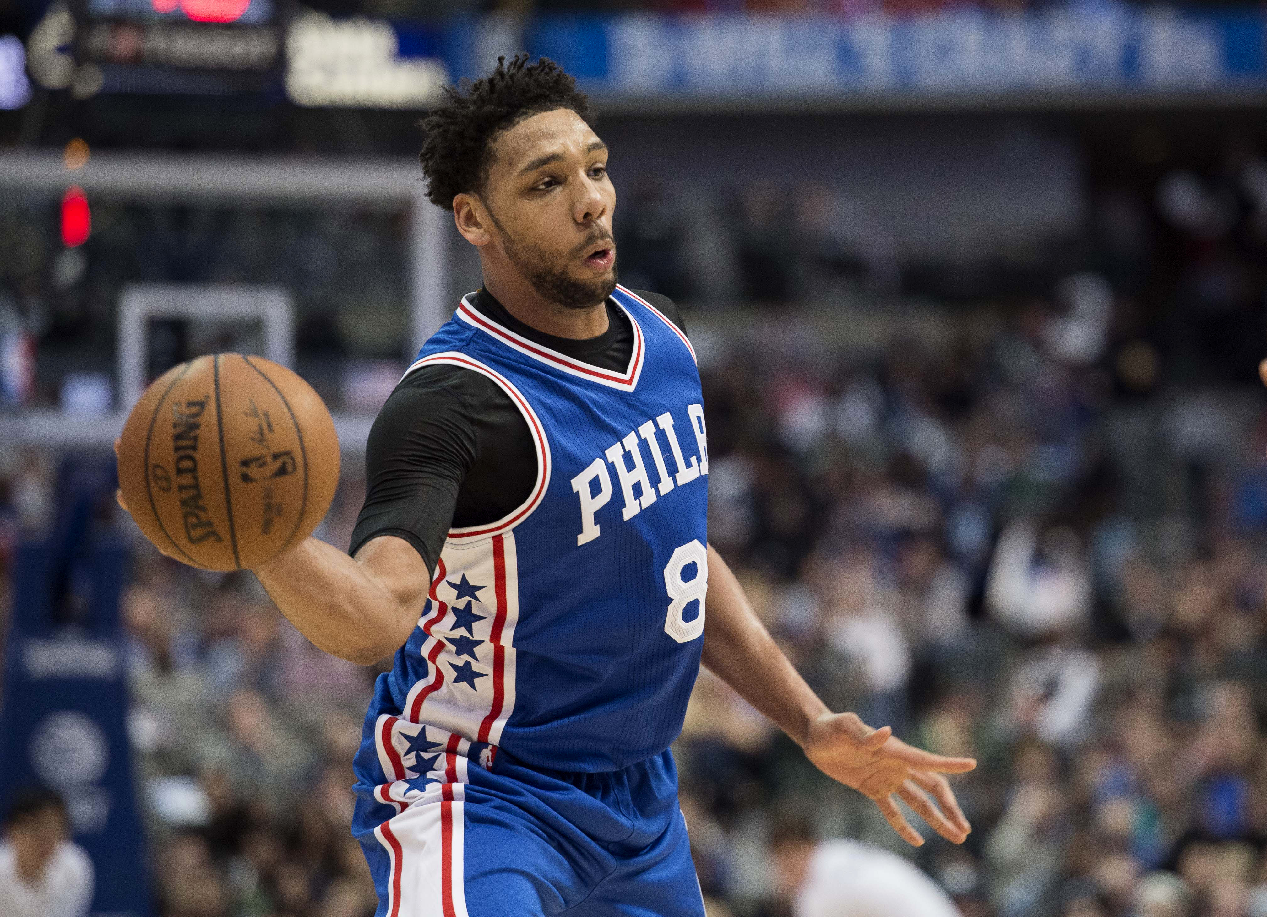 Feb 1, 2017; Dallas, TX, USA; Philadelphia 76ers center Jahlil Okafor (8) passes the ball during the second half against the Dallas Mavericks at the American Airlines Center. The Mavericks defeat the 76ers 113-95. Mandatory Credit: Jerome Miron-USA TODAY Sports