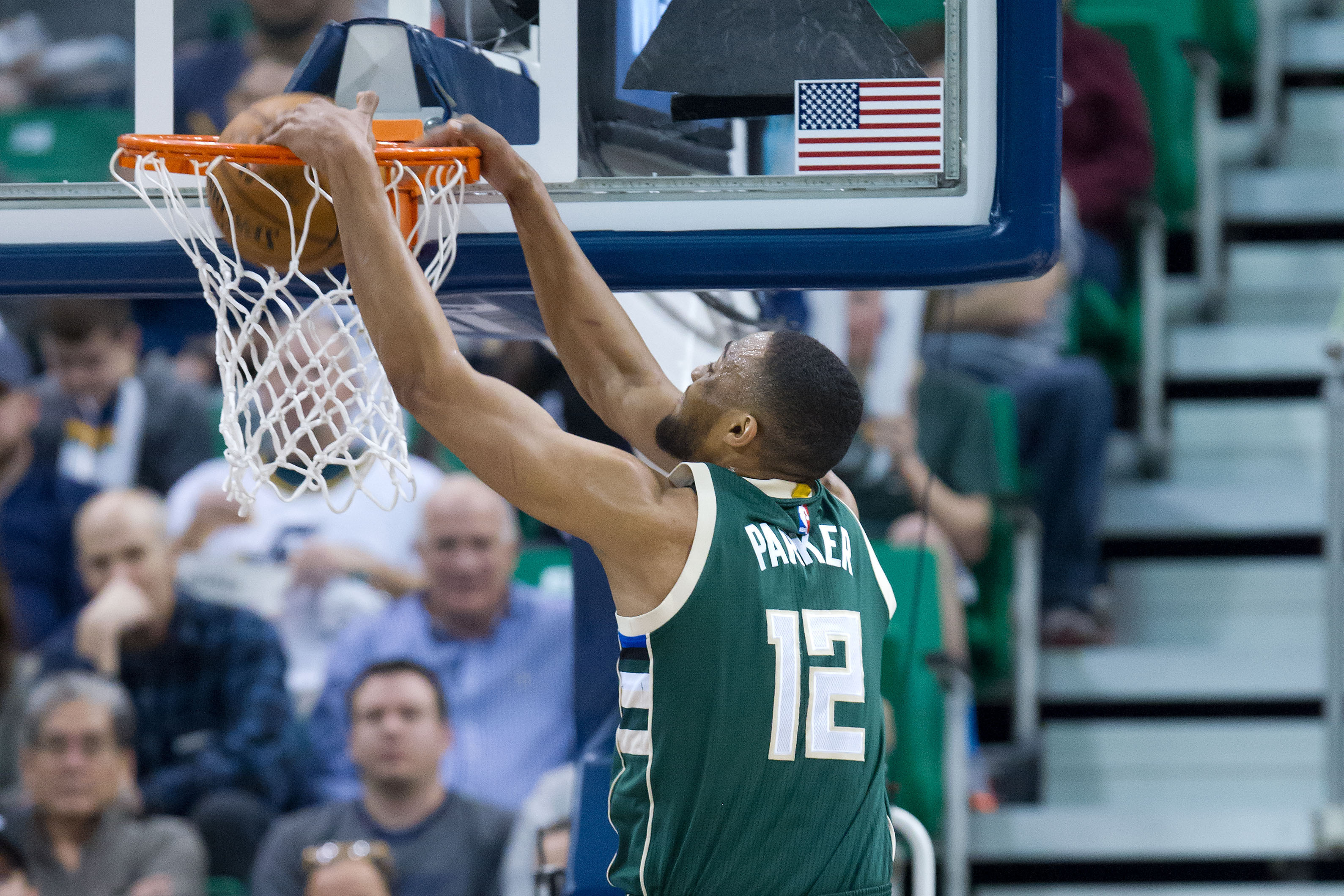Feb 1, 2017; Salt Lake City, UT, USA; Milwaukee Bucks forward Jabari Parker (12) dunks the ball during the second half against the Utah Jazz at Vivint Smart Home Arena. The Jazz won 104-88. Mandatory Credit: Russ Isabella-USA TODAY Sports