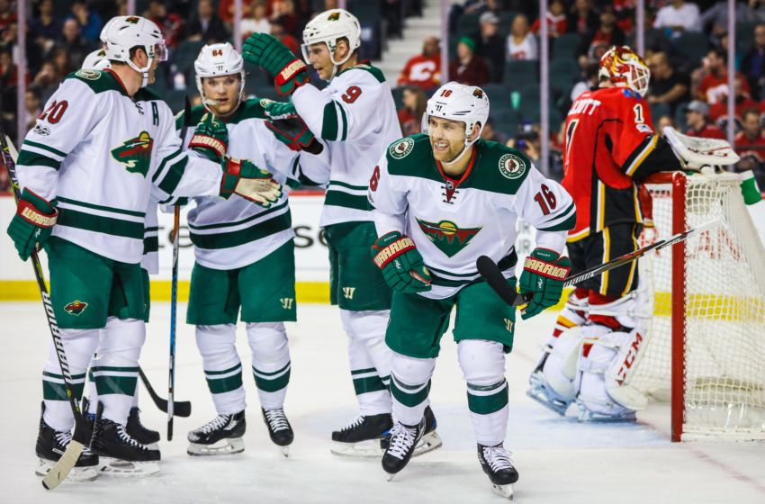 Vegas Golden Knights: Minnesota Wild left wing Jason Zucker (16) celebrates his goal with teammates against the Calgary Flames during the second period at Scotiabank Saddledome. Mandatory Credit: Sergei Belski-USA TODAY Sports