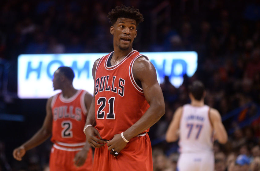 Feb 1, 2017; Oklahoma City, OK, USA; Chicago Bulls forward Jimmy Butler (21) reacts after a call in action against the Oklahoma City Thunder during the fourth quarter at Chesapeake Energy Arena. Mandatory Credit: Mark D. Smith-USA TODAY Sports