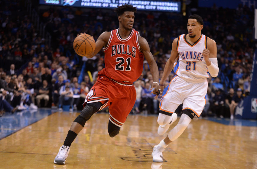 Feb 1, 2017; Oklahoma City, OK, USA; Chicago Bulls forward Jimmy Butler (21) drives to the basket in front of Oklahoma City Thunder forward Andre Roberson (21) during the fourth quarter at Chesapeake Energy Arena. Mandatory Credit: Mark D. Smith-USA TODAY Sports