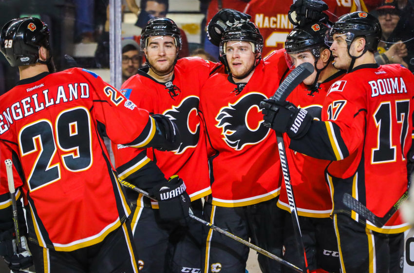 Feb 1, 2017; Calgary, Alberta, CAN; Calgary Flames left wing Micheal Ferland (79) celebrates his goal with teammates against the Minnesota Wild during the third period at Scotiabank Saddledome. The Flames won 5-1. Mandatory Credit: Sergei Belski-USA TODAY Sports