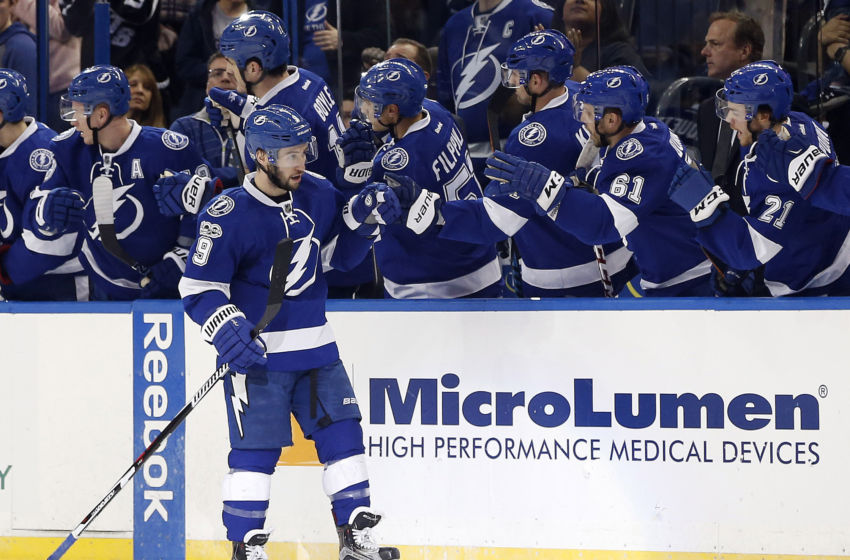 Vegas Golden Knights: Tampa Bay Lightning center Tyler Johnson (9) celebrates with teammates on the bench after scoring a goal against the Ottawa Senators during the second period at Amalie Arena. Mandatory Credit: Kim Klement-USA TODAY Sports