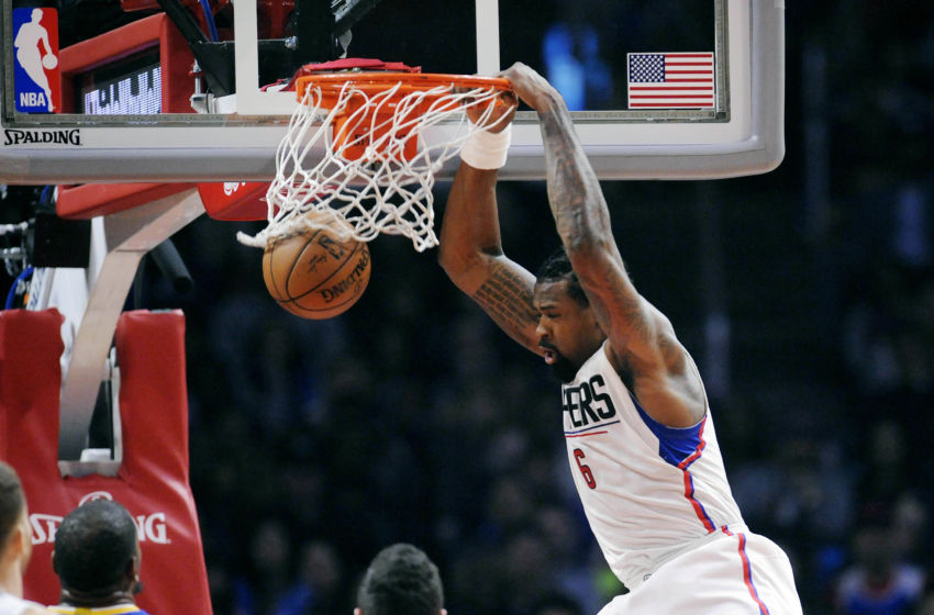 February 2, 2017; Los Angeles, CA, USA; Los Angeles Clippers center DeAndre Jordan (6) dunks to score a basket against the Golden State Warriors during the first half at Staples Center. Mandatory Credit: Gary A. Vasquez-USA TODAY Sports