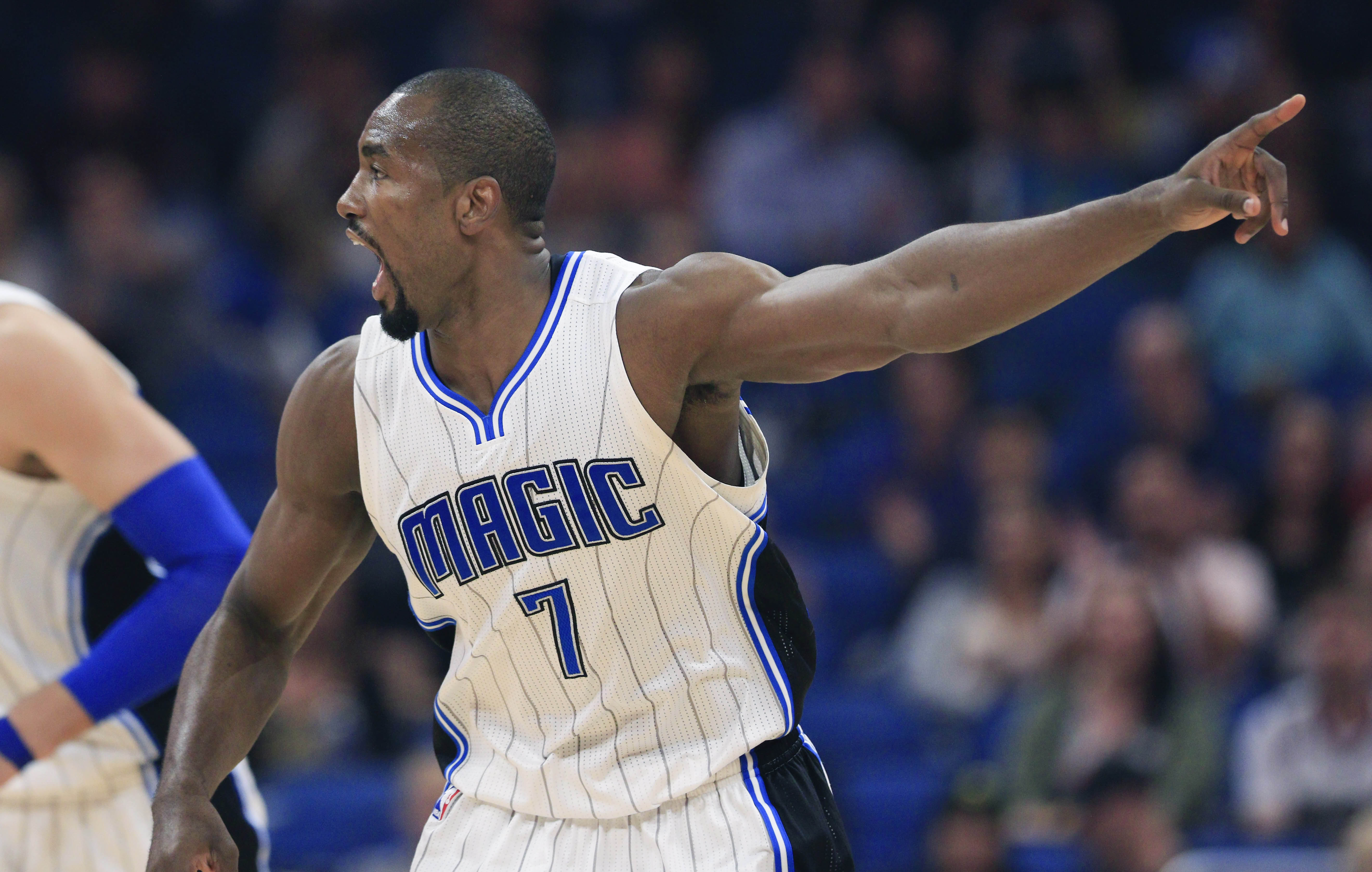 Feb 3, 2017; Orlando, FL, USA; Orlando Magic forward Serge Ibaka (7) reacts after scoring during the first quarter of an NBA basketball game against the Toronto Raptors at Amway Center. Mandatory Credit: Reinhold Matay-USA TODAY Sports