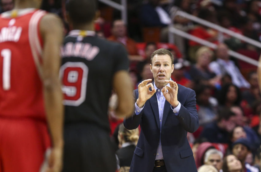 Feb 3, 2017; Houston, TX, USA; Chicago Bulls head coach Fred Hoiberg reacts from the sideline during the third quarter against the Houston Rockets at Toyota Center. Mandatory Credit: Troy Taormina-USA TODAY Sports