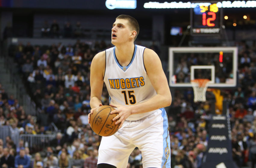 Feb 3, 2017; Denver, CO, USA; Denver Nuggets forward Nikola Jokic (15) looks to shoot the ball during the second half against the Milwaukee Bucks at Pepsi Center. The Nuggets won 121-117. Mandatory Credit: Chris Humphreys-USA TODAY Sports