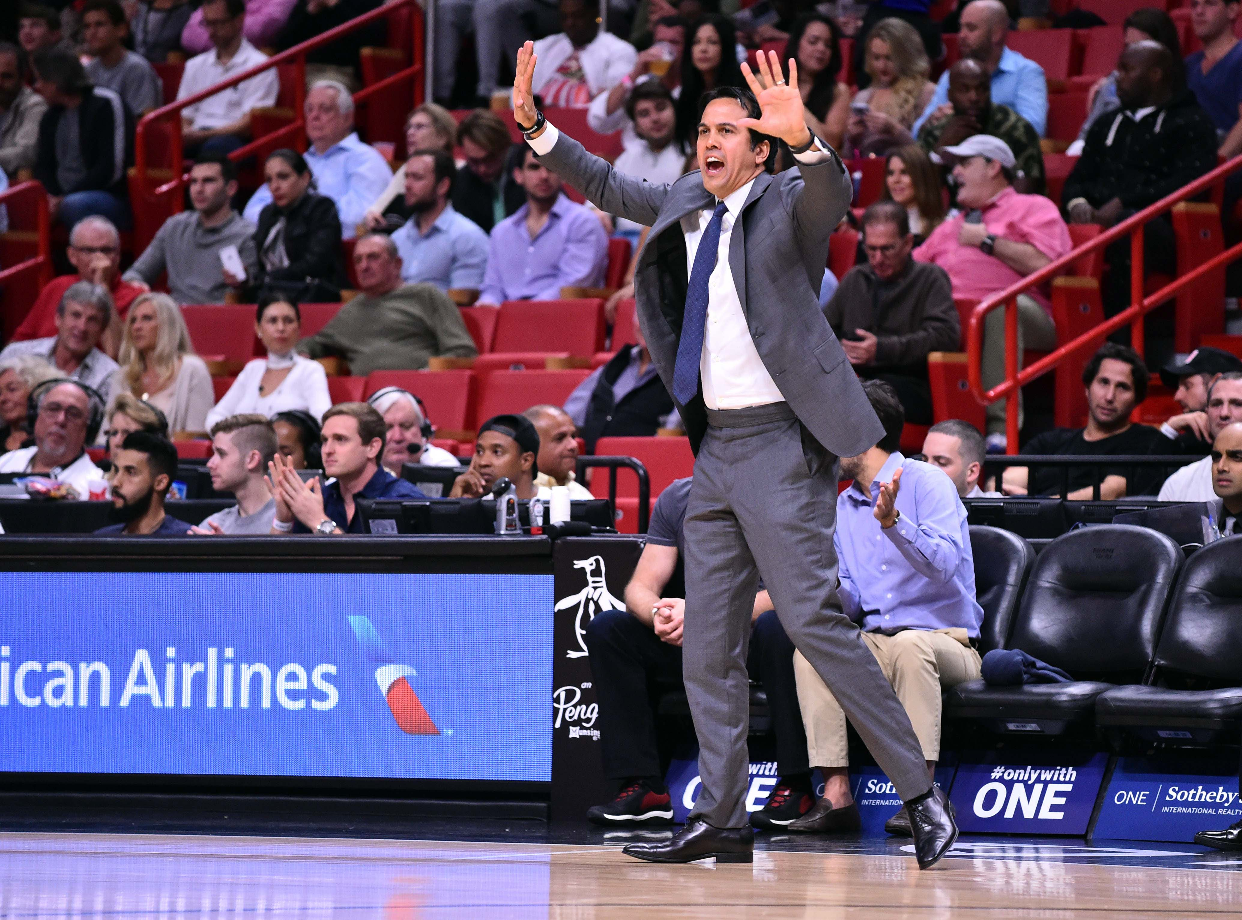 Feb 1, 2017; Miami, FL, USA; Miami Heat head coach Erik Spoelstra calls out a play during the first half of go game action against the Atlanta Hawks at American Airlines Arena. Miami Heat won 116-93. Mandatory Credit: Steve Mitchell-USA TODAY Sports