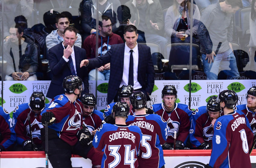 Feb 4, 2017; Denver, CO, USA; Colorado Avalanche Jared Bednar during a timeout called in the second period against the Winnipeg Jets at the Pepsi Center. Mandatory Credit: Ron Chenoy-USA TODAY Sports