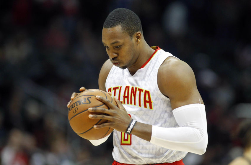 Feb 4, 2017; Atlanta, GA, USA; Atlanta Hawks center Dwight Howard (8) holds the ball before a game against the Orlando Magic at Philips Arena. Mandatory Credit: Brett Davis-USA TODAY Sports
