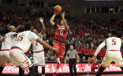 Feb 4, 2017; Lubbock, TX, USA; Oklahoma Sooners guard Darrion Strong-Moore (0) shoots against the Texas Tech Red Raiders in the first half at United Supermarkets Arena. Mandatory Credit: Michael C. Johnson-USA TODAY Sports