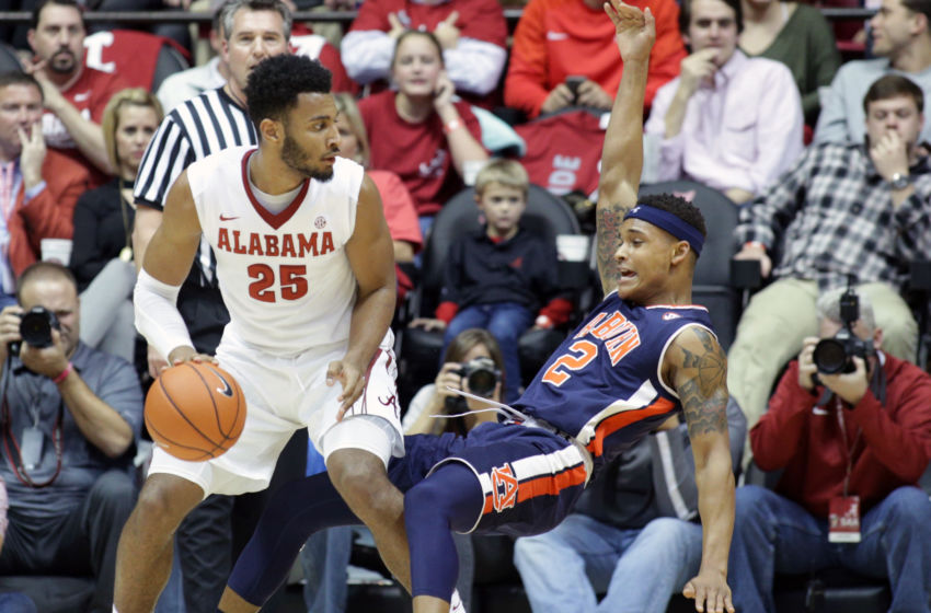 Feb 4, 2017; Tuscaloosa, AL, USA; Alabama Crimson Tide forward Braxton Key (25) goes to the basket against Alabama Crimson Tide guard Lawson Schaffer (2) during the first half at Coleman Coliseum. Mandatory Credit: Marvin Gentry-USA TODAY Sports