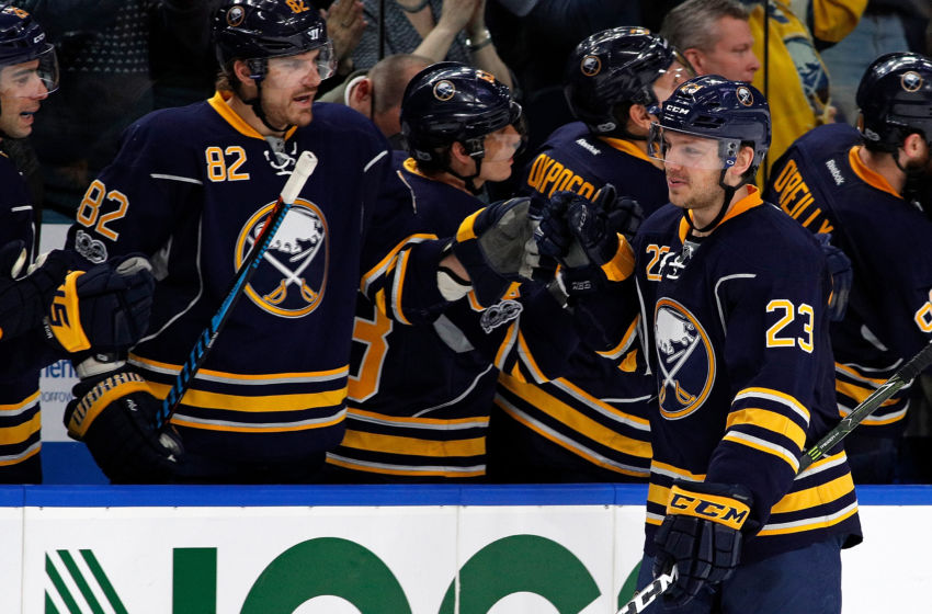 Vegas Golden Knights: Buffalo Sabres center Sam Reinhart (23) celebrates after scoring a goal during the third period against the Ottawa Senators at KeyBank Center. Sabres beat the Senators 4-0. Mandatory Credit: Kevin Hoffman-USA TODAY Sports