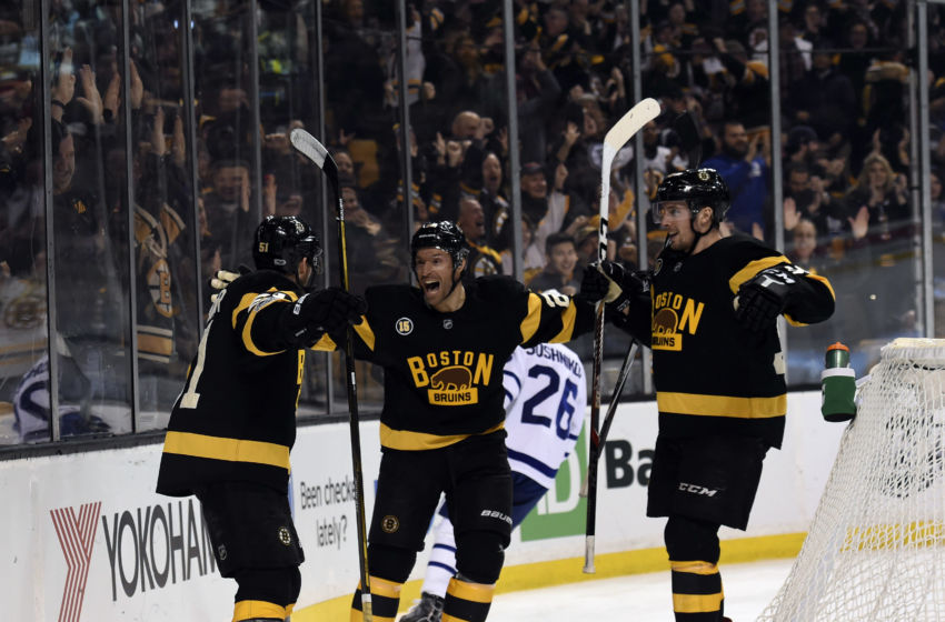 Vegas Golden Knights: Boston Bruins center Ryan Spooner (51) reacts with center Dominic Moore (28) and center Tim Schaller (59) after scoring a goal during the third period against the Toronto Maple Leafs at TD Garden. Mandatory Credit: Bob DeChiara-USA TODAY Sports