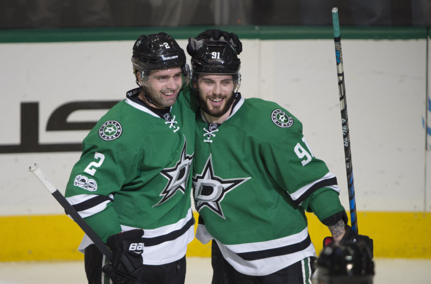Vegas Golden Knights: Dallas Stars defenseman Dan Hamhuis (2) and center Tyler Seguin (91) celebrates a goal against the Chicago Blackhawks during the third period at the American Airlines Center. The Blackhawks defeat the Stars 5-3. Mandatory Credit: Jerome Miron-USA TODAY Sports