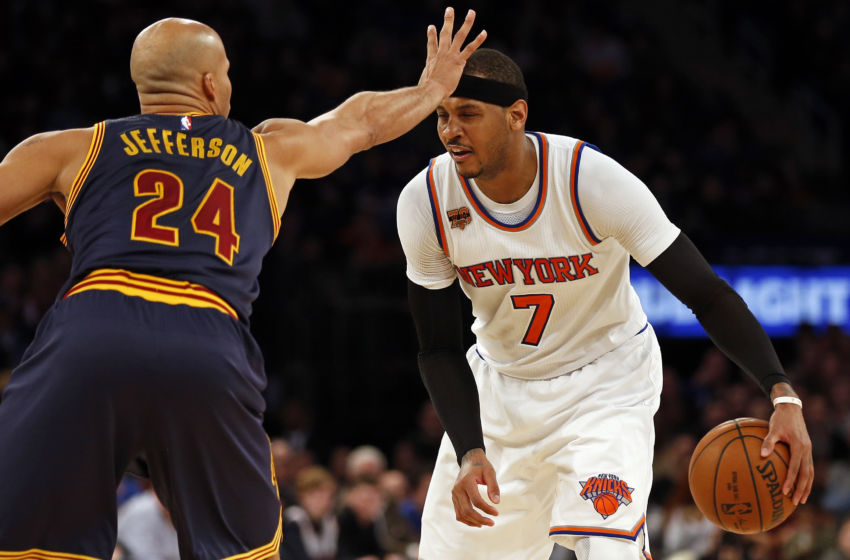 Feb 4, 2017; New York, NY, USA; Cleveland Cavaliers forward Richard Jefferson (24) defends New York Knicks forward Carmelo Anthony (7) during the second half at Madison Square Garden. Mandatory Credit: Adam Hunger-USA TODAY Sports