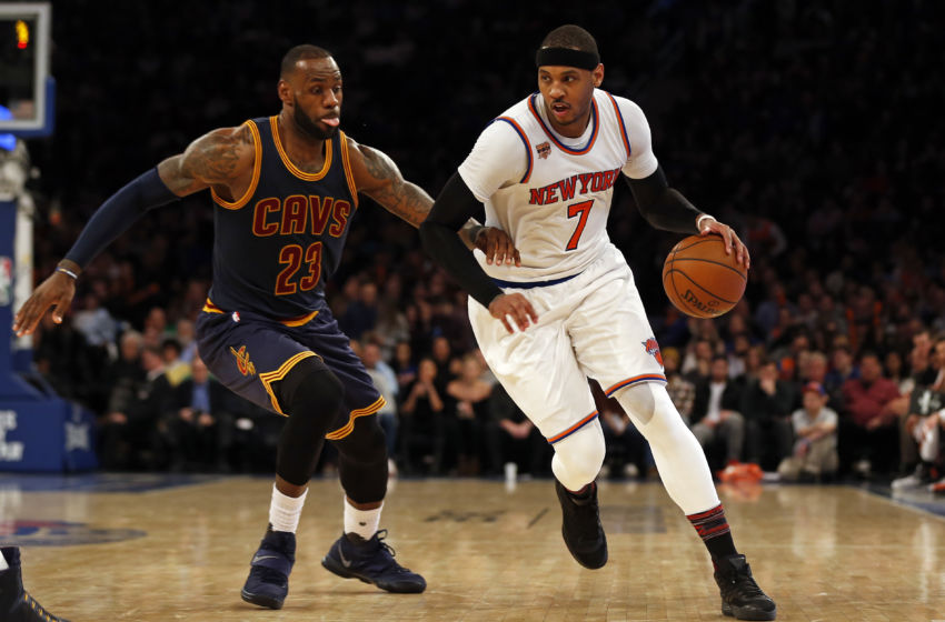 Feb 4, 2017; New York, NY, USA; New York Knicks forward Carmelo Anthony (7) drives to the basket past Cleveland Cavaliers forward LeBron James (23) during the second half at Madison Square Garden. Mandatory Credit: Adam Hunger-USA TODAY Sports